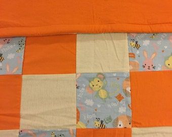 READY TO SHIP- Animal Quilt, Neutral, Boy, Girl. Animals, Orange, Yellow, Lap Quilt, Throw, Crib Size, Baby, Toddler