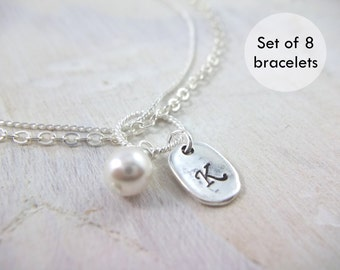Personalized Bracelets Pearl Bridesmaids Gift Jewelry Initial Charm Wedding Swarovski