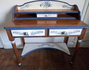 Antique vintage style desk dressing table with hand painted flower motifs.