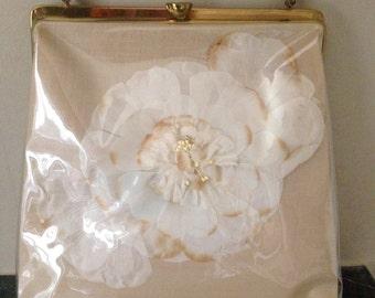 Vintage 1950s Plastic Flower Purse Bag Mint Condition
