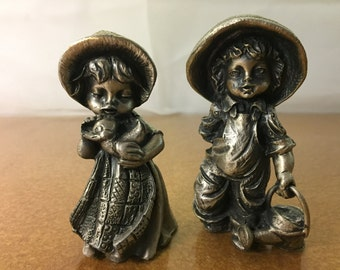 Vintage Pair of Boy Girl Heavy Forged Silver Brass Metal Alloy Italian Figurines. Signed Fonderie Lo-Pe Osimo