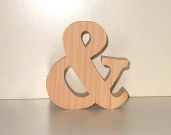 Unfinished Wooden Freestanding Ampersand Symbol Using News Bold Font Size 4 Inches Tall - DIY Wedding - Bride And Groom - Chunky Letter