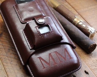 Brown Leather Cigar Case with Lighter and Cutter - Personalized Groomsmen Gift for Men, Birthday Gift, Gifts For Him