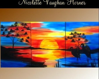 Sale Enormous 6ft by 3ft (3 panels) original Landscape  painting abstract oils/acrylic on  gallery canvas by Nicolette Vaughan Horner