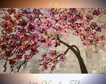 "ORIGINAL 36""Abstract Acrylic gallery canvas-Contemporary Modern Plum,Purple,gold Blossom Tree painting by Nicolette Vaughan Horner"