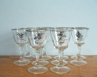 Vintage Silver Rim Game Bird Glasses Set of 10,  Mid Century Cordial Aperitif Liqueur Sherry, Ducks, Pheasant, Geese, Grouse Barware
