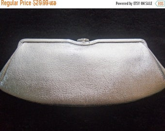 Now On Sale Vintage Shiny Silver Collectible Clutch 1950's Mad Men Mod Mid Century Hollywood Regency Handbag Purse