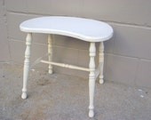 Kidney Stool 1940's - Shabby Country cottage White - Vanity Table Chair - American Retro - Salmanson Co New York City NY