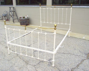 Antique QUEEN Victorian Bed Iron Brass - Complete Headboard Footboard and Rails - Shabby White - QUEEN Mattress size - Cottage Country Chic