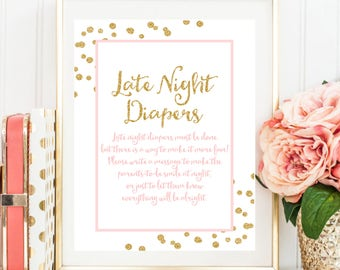 Late Night Diapers Game Sign, Pink and Gold Printable Baby Shower Decor, Baby Shower Sign, Pink Gold Baby Shower Printable Instant BB20