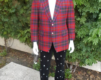 Vintage 1981 Maxime Shoppe Red Tartan Plaid Blazer - Size 42