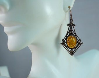 Victorian Sterling and Amber Drop Earrings