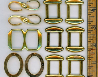 Interesting Mixed Lot of 11 Vintage gold Metal Belt Buckles or Scarf Slides ~ Various Styles and Sizes ~ Destash