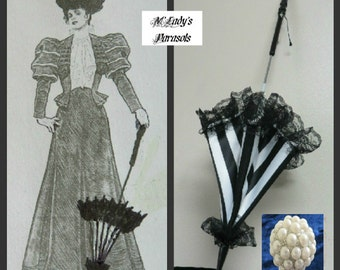 "Victorian ""WALKING STICK"" PARASOL Umbrella in Elegant Black and White Stripe Satin with Lace Ruffle and Long Handle Civil War Wedding Goth"