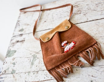 Vintage Suede Native American Purse - Small Purse Beaded Boho Purse Bohemian Purse Fringe