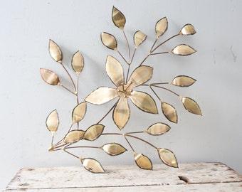 Vintage Floral Gold Wall Hanging - Gold Metal Leaf Floral Wall Hanging Mid Century Filigree Flower 1970s