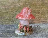 Ceramic Miniature Clay Mushroom House,  Pottery Enchanted Fairy Garden Cottage