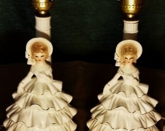 Pair of Vintage Southern Belle Lady Figural Electric Boudoir Table Lamps White Ruffled Dress & Bonnet Made in Japan