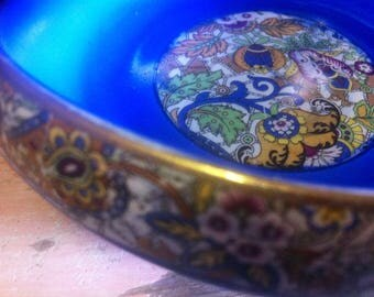 Vivid blue vintage ceramic bowl made in England