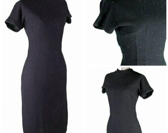 1940s Beaded Black Dress