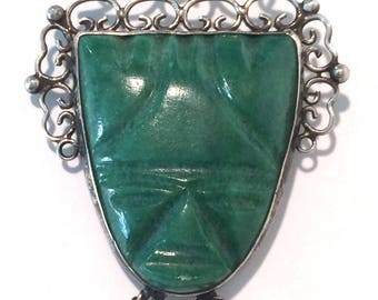 Sterling Mexican Brooch Tribal Green Onyx