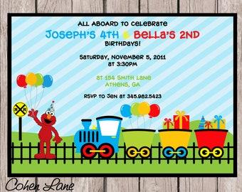 Printable Elmo and Train party invitation.  Train and Elmo Birthday Party Invite.  Elmo Invite.  Train Invitation.