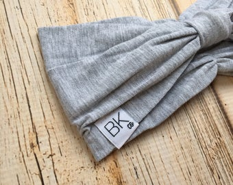 Heathered Grey Bamboo fabric headband- gathered in the front, with a cinch bow in the back- The Best Headband you will ever own!