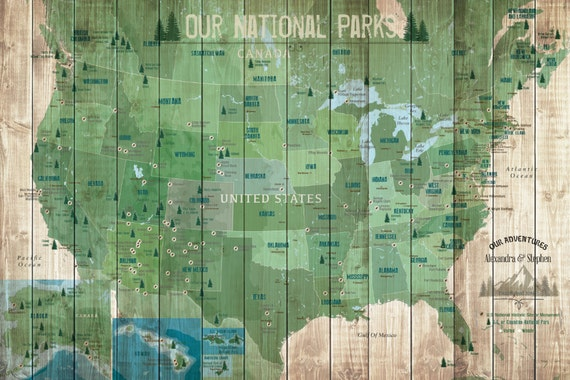 National Park Map US National Park X Inches Gift For - Us parks map