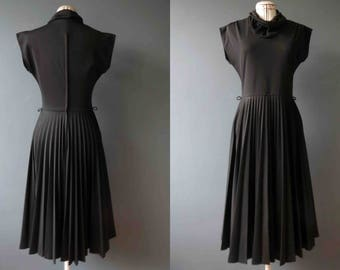 Vintage 70s Black Cowl Neck Pleated Dress Small