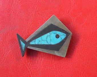 1950's Los Castillo Brooch / Mid Century Fish Pin / Vintage Taxco Jewelry