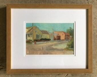 "Historic Corner, Oil Painting on Linen Canvas, Framed, 14"" x 11"""