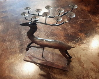 Vintage Metal Reindeer Candleholder Large Sized Rustic Christmas Holdiay Bronze Tone 10 Candle Holders Indoor Outdoor
