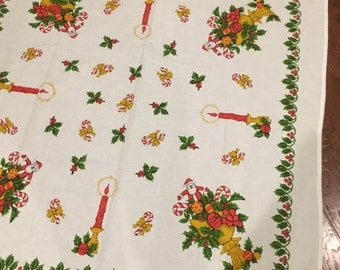 White with red christmas holly border square tablecloth vintage