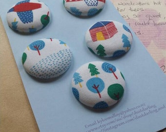 Button Stories: Birds over Forest