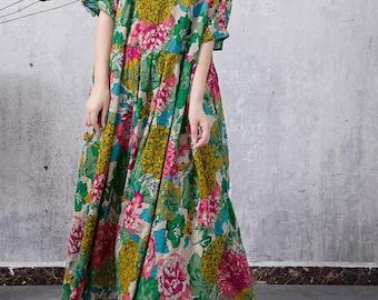 Summer long maxi dress cotton large size women green dress