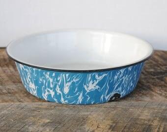 Vintage Enamelware Bowl Blue and White Swirl