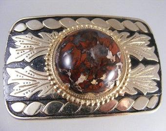 Vintage Red Brecciated Jasper Western  Belt Buckle  .....  Lot 4762