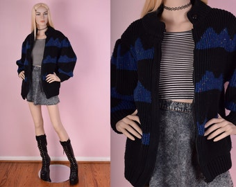 80s Chunky Knit Sweater Jacket/ Medium/ 1980s