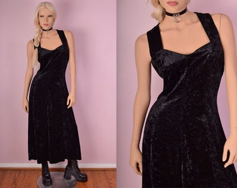 90s Black Crushed Velvet Dress/ Large/ 1990s/ Tank/ Sleeveless