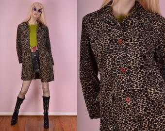 90s Fuzzy Leopard Print Coat/ Small/ 1990s/ Jacket