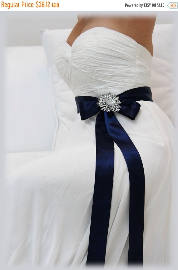 Navy Blue Sash Bridal Sash Bridesmaid Sash Bridal By