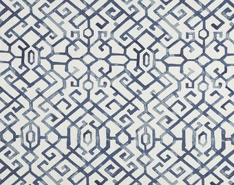 Navy Blue and White Quatrefoil Curtains, JING REGAL BLUE Slub Canvas Rod Pocket 63 72 84 90 96 108 or 120 Long by 24 or 50 Wide