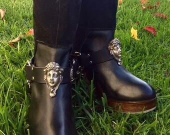 HanD CasT White BronzE Art Nouveau Woman's Face on BlacK or Brown Adjustable LeatheR Boot straps