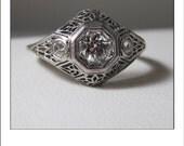 Antique Art Deco Platinum Mine Cut Diamond .50 Ct. Filigree Engagement Ring
