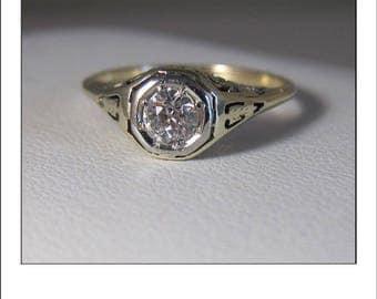 Antique Art Deco 14k .45 Ct. European Cut Diamond Filigree Engagement Ring