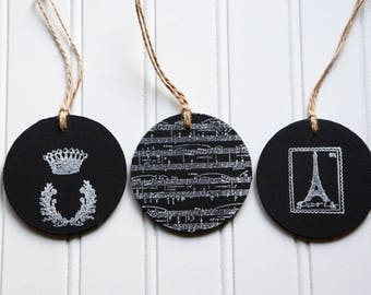 Chalkboard tags-set of 3, chalk board signs, stamped tags, gift tags, french tags, wooden tags, Paris gift tags by My Sweet Maison.