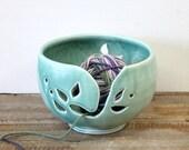 Handmade Yarn Keeper, Ceramic Yarn Holder, Green Ceramic Yarn Bowl, Yarn Bowl