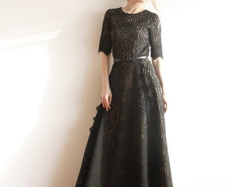 Maxi Black Lace Gown with nude lining