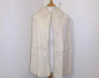 Vintage 1940s Selfridge London real cream rabbit coney fur long cape cloak wrap size Small UK 8 10
