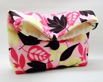 Foldover clutch, Fold over bag, clutch purse, evening clutch, wedding purse, bridesmaid gifts - Leaves (Ref. FC13 )